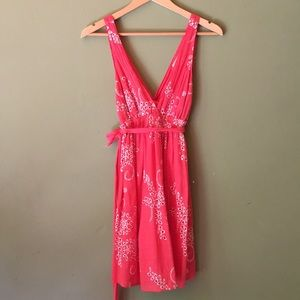 Coral mid length dress w/white detailed stitching